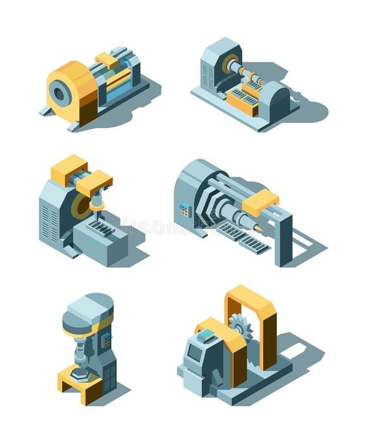 Industria pesada Línea de trabajo equipo de la fábrica del vector de la grúa de las máquinas de la ingeniería de producción del m libre illustration
