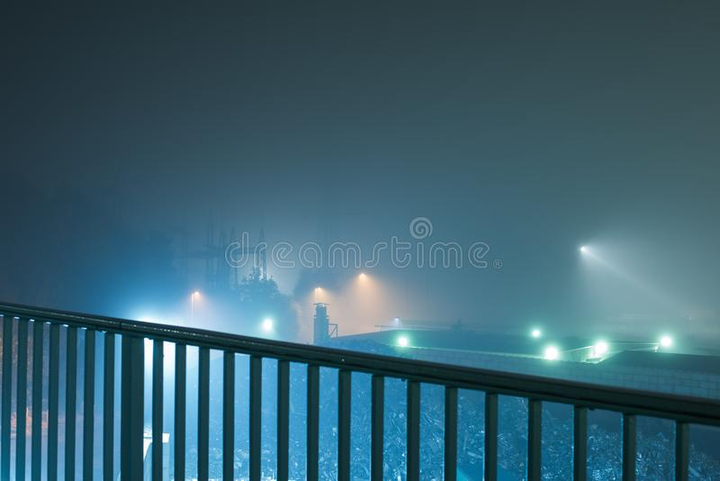 Industria teren przy podczas nocy obraz stock