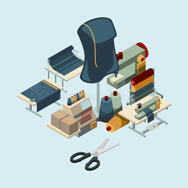 Industria textil Concepto de costura de las herramientas de la manufactura de composición del vector de la producción del bordado stock de ilustración