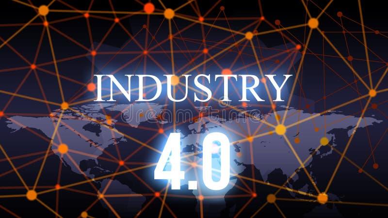 4 industriais 0 bacgkground Fundo e conceito abstratos da tecnologia Conex?o de rede e Internet espertos do tema da coisa Engrena imagens de stock