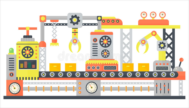 Industrial abstract machine line in flat style. Factory construction machinery technology equipment, engineering vector. Illustration stock illustration