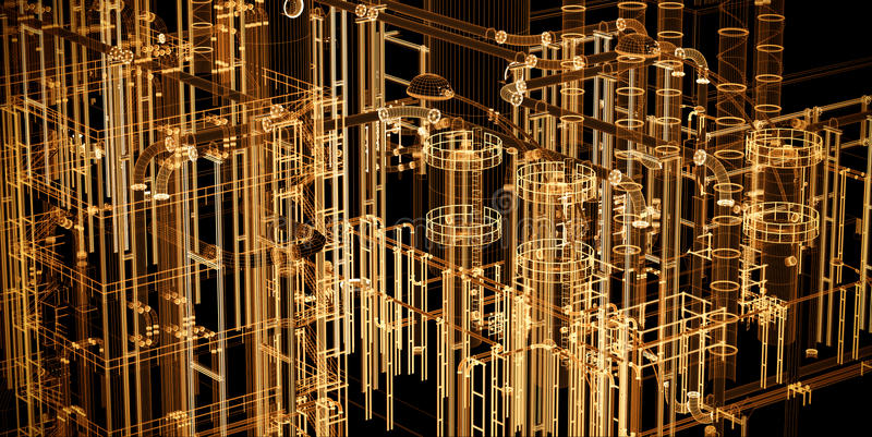 Industrial abstracto, fondo de la bandera de la tecnología Ingeniería, fábrica ilustración del vector