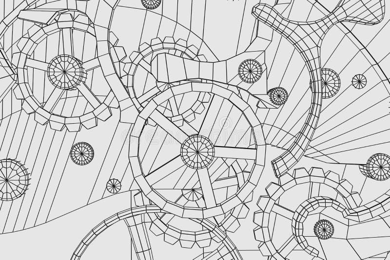 Industrial abstracto, fondo de la tecnología Esquemas de los engranajes stock de ilustración