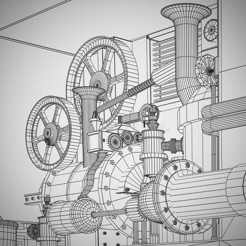 Industrial abstracto, fondo de la tecnología Esquemas de los engranajes libre illustration