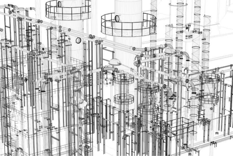 Industrial abstracto, fondo de la tecnología Ingeniería, fábrica libre illustration