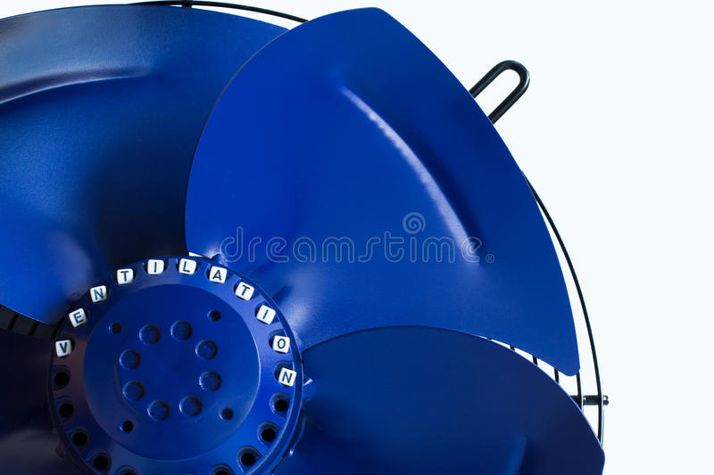 Industrial air ventilation fan on white background closed up stock image