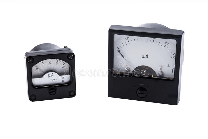 Industrial Analog ammeter. Analog ammeter industrial isolated on white background royalty free stock images