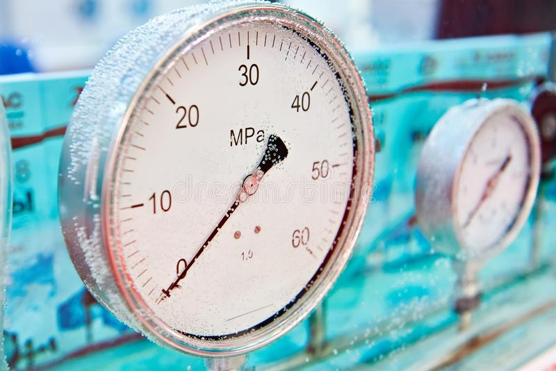 Industrial analog pressure sensors in water royalty free stock images