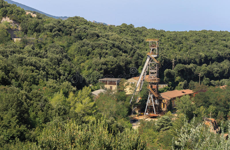 Industrial archeology. Dismissed pyrite mine complex in Tuscan mining area. The metalliferous hill national park is part of the European and Global Geo-parks stock images