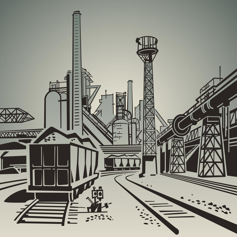 Industrial Area vector illustration