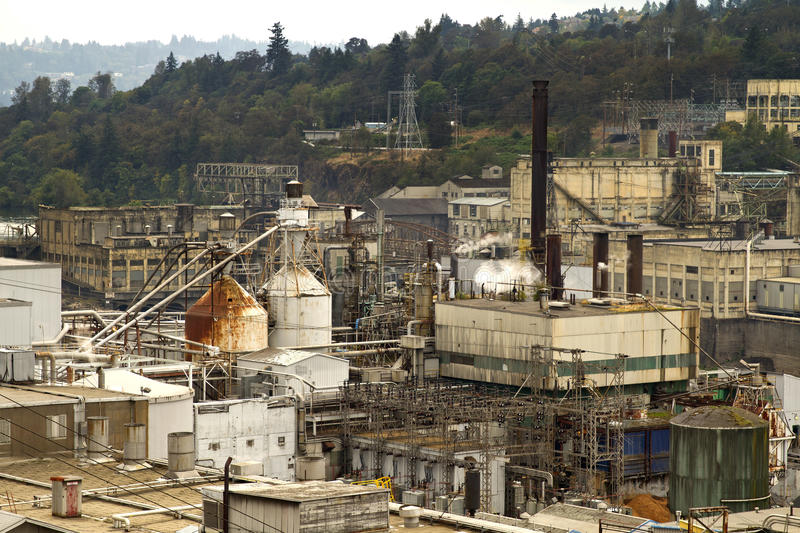 Industrial Area along Willamette River royalty free stock images