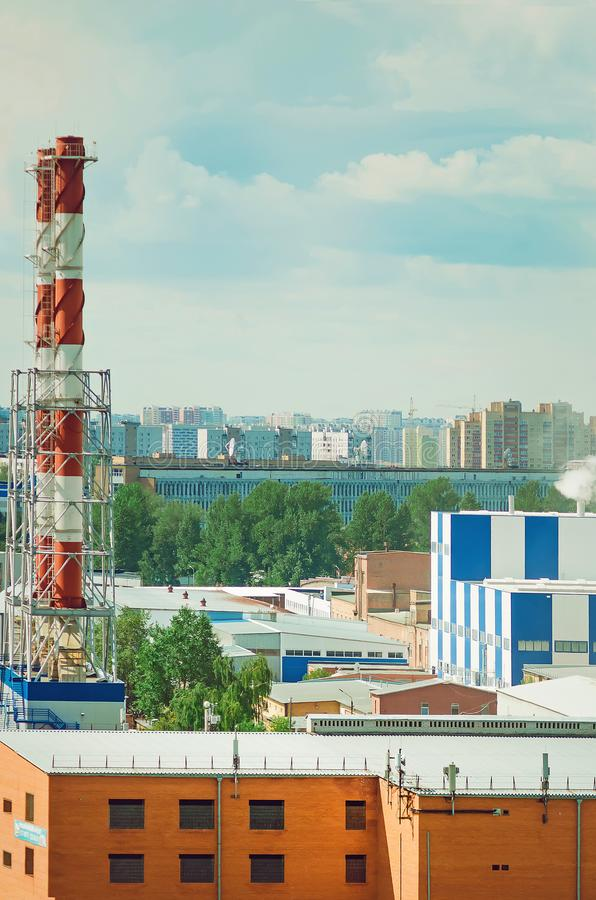 Industrial area in the city. stock photo