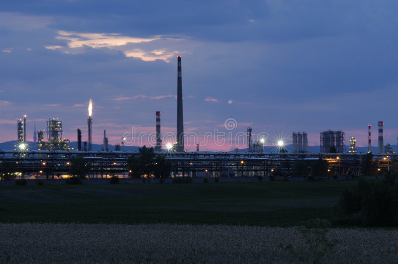 Industrial area - petroleum refinery. At the early evening royalty free stock images
