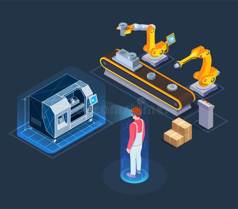 Industrial Augmented Reality Isometric Composition stock illustration