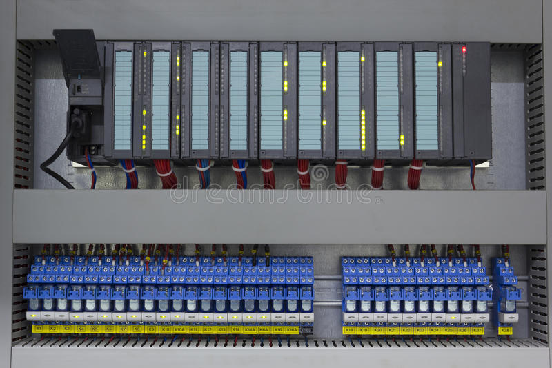 Industrial automation. With programmable logic controller and relays royalty free stock image