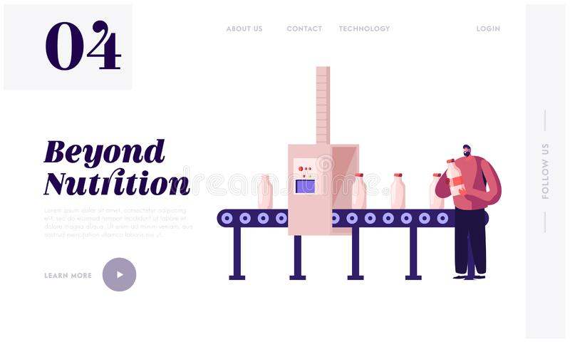 Industrial Automation Process Website Landing Page. Man Take Milk Bottle from Factory Conveyor Belt. Dairy Production. Moving by Plant Transporter Line Web Page royalty free illustration