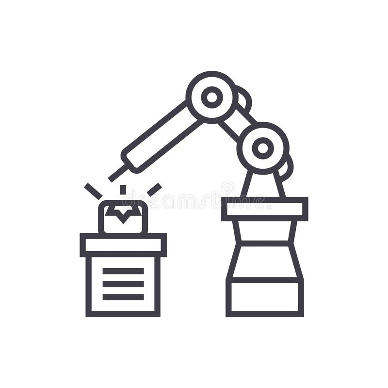 Industrial automation vector line icon, sign, illustration on background, editable strokes vector illustration