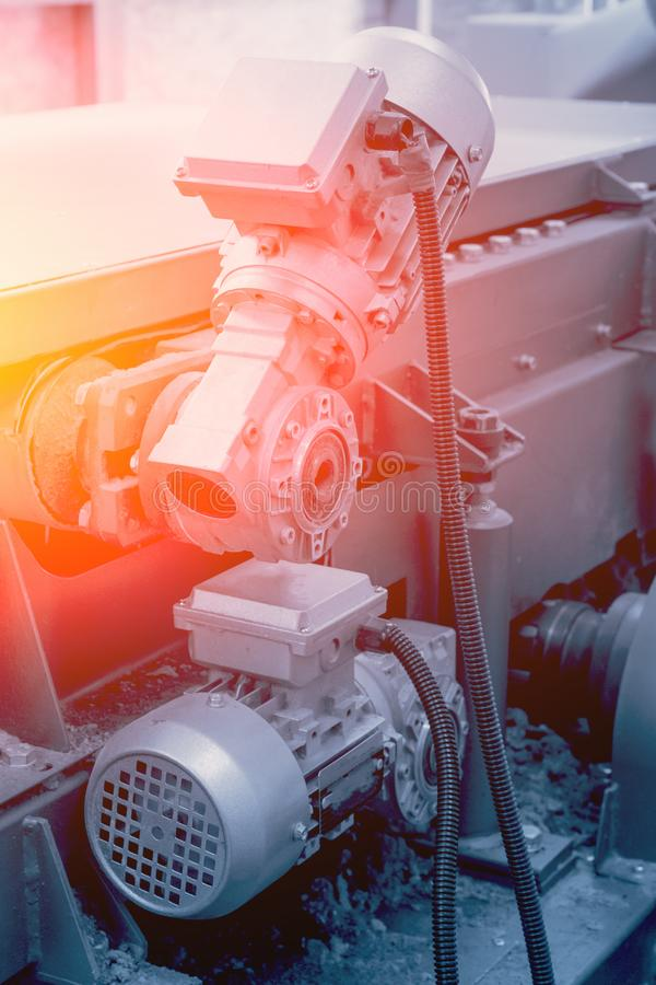 Industrial automotive machine tool equipment close up, abstract industry manufacturing metalwork background stock photography