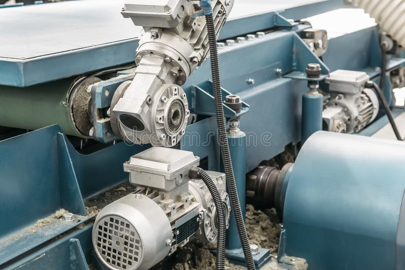 Industrial automotive machine tool equipment close up, industry manufacturing metalwork background stock image