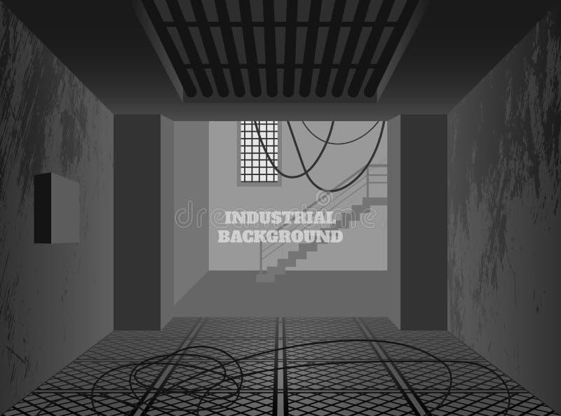 Industrial background. Dark factory in grunge style. Interior of broken workplace building vector illustration