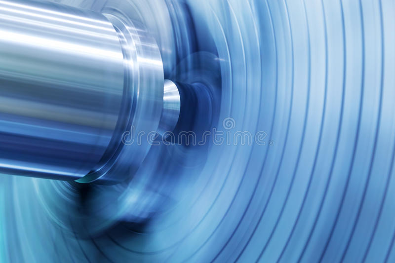 Industrial background. Drilling, boring machine at work. Industry, motion blur stock photo