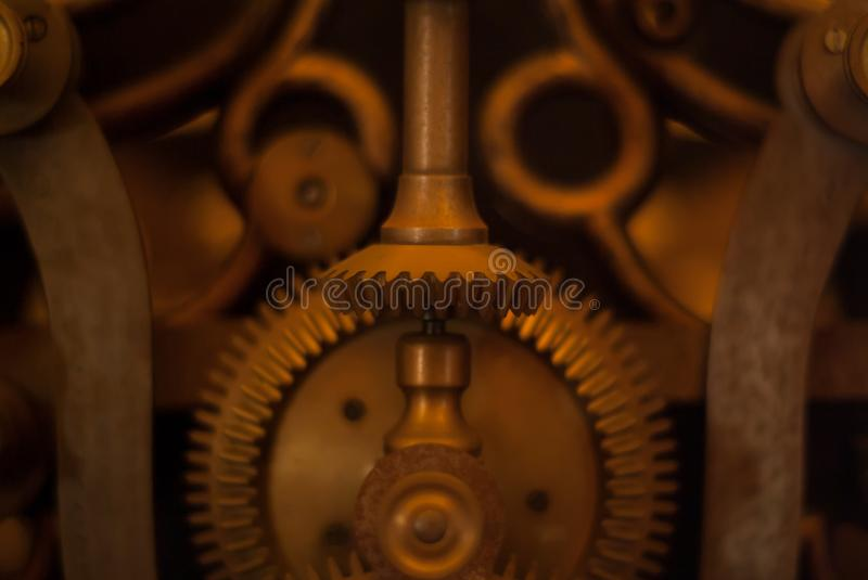 Industrial background of engine gear wheels stock images