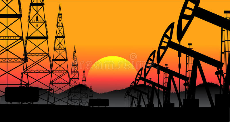 Industrial background oil production stock illustration