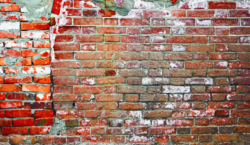Industrial background. Weathered red brick wall of two parts. Empty grunge urban street warehouse brick wall stock photos