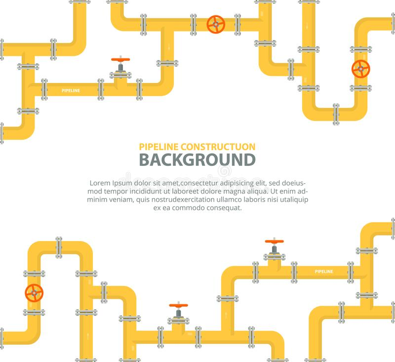 Industrial background with yellow pipeline. Oil, water or gas pipeline with fittings and valves. Vector illustration in a flat style stock illustration
