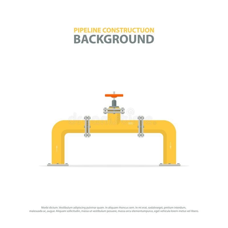 Industrial background with yellow pipeline and valve. Oil, water or gas pipelines. vector illustration