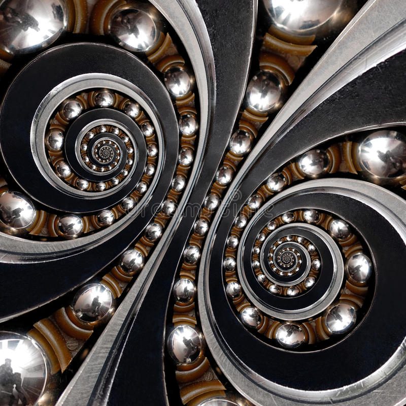 Industrial Ball Bearing. Double spiral effect abstract background. Abstract texture fractal pattern background. Background royalty free stock photography