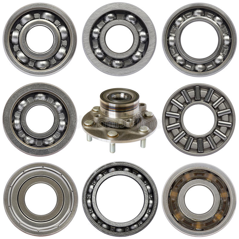 Industrial ball bearings set. White background royalty free stock image