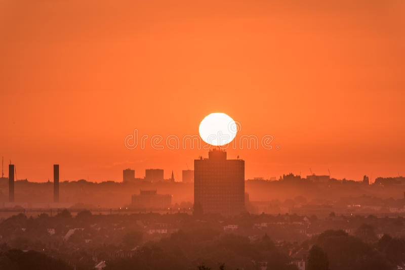 Industrial beauty. New day rising in the big city shows some of the new beginning theme stock photography