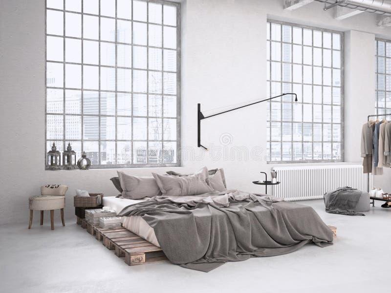 Industrial bedroom. 3d rendering stock image