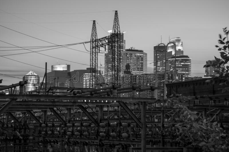 Industrial Black and White cityscape skyline of Downtown Minneapolis Minnesota in the Twin Cities Metro. Black and White cityscape skyline of Downtown royalty free stock image