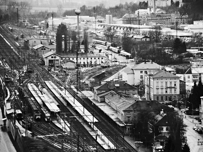 Industrial block of city with train main station viewed from Pastyrska stena prospect in Decin city in December 2017 royalty free stock images