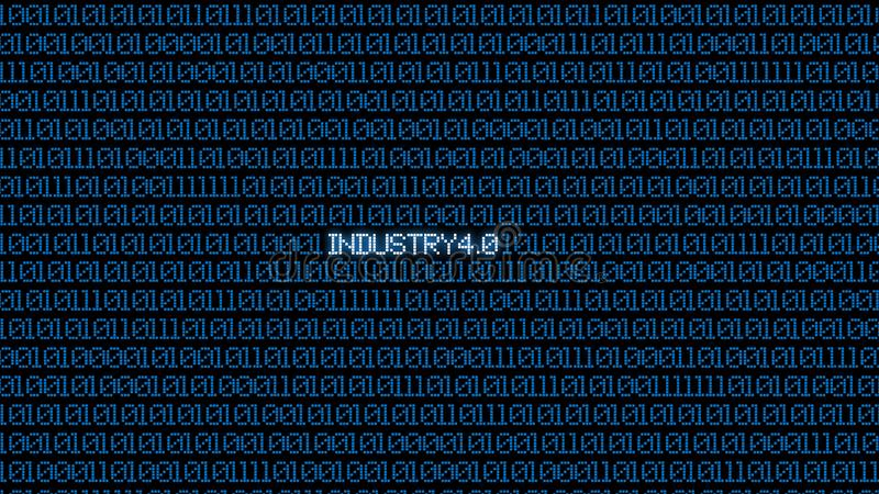 Industrial 4.0 Blue digital matrix bacgkground. Abstract background and Technology concept. Smart network connection and Internet royalty free illustration