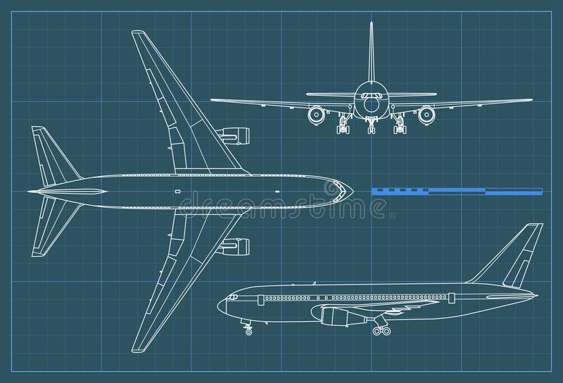 Industrial blueprint of airplane. Vector outline drawing plane on a blue background. Top, side and front view. royalty free illustration