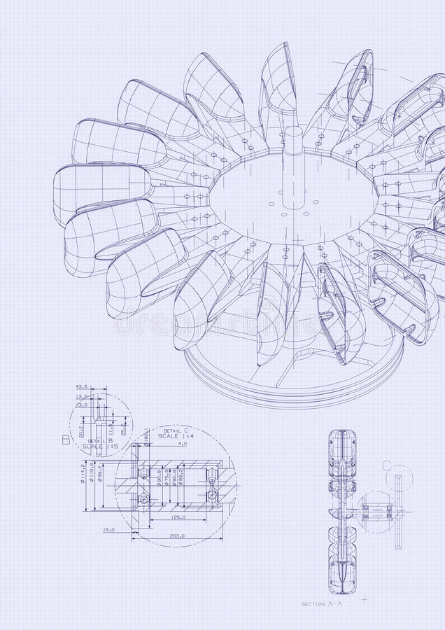 Industrial blueprint of hydraulic water turbine stock photo image download industrial blueprint of hydraulic water turbine stock photo image of efficiency closeup malvernweather Image collections