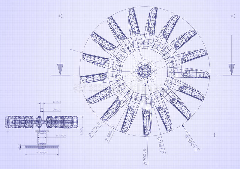 Industrial blueprint of hydraulic water turbine stock image image blueprint detail from top view malvernweather Image collections