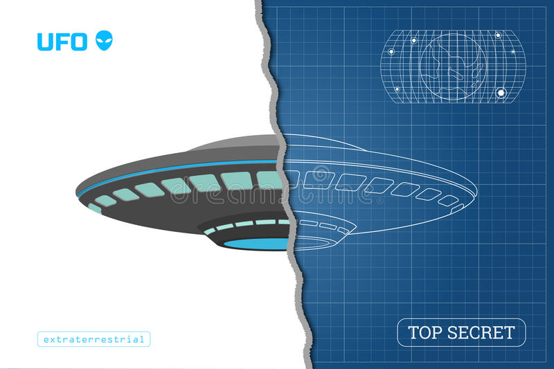Industrial blueprint of ufo technical document with the drawing of download industrial blueprint of ufo technical document with the drawing of alien spaceship stock vector malvernweather Gallery