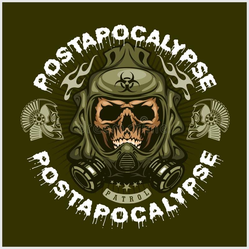 Industrial, brasão do cargo-apocalipse com o crânio, grunge t-shirt do projeto do vintage ilustração do vetor
