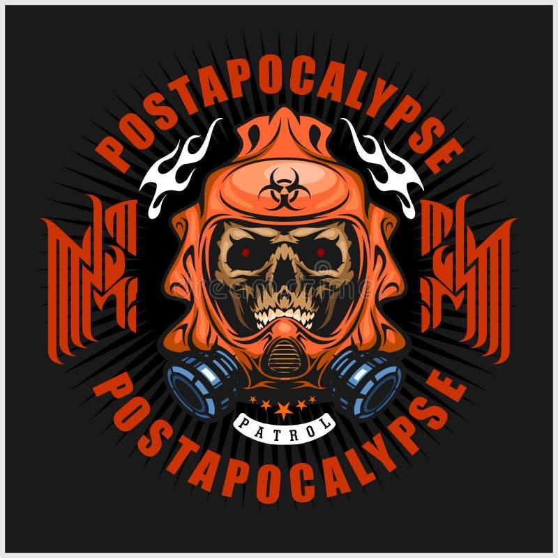 Industrial, brasão do cargo-apocalipse com o crânio, grunge t-shirt do projeto do vintage ilustração royalty free