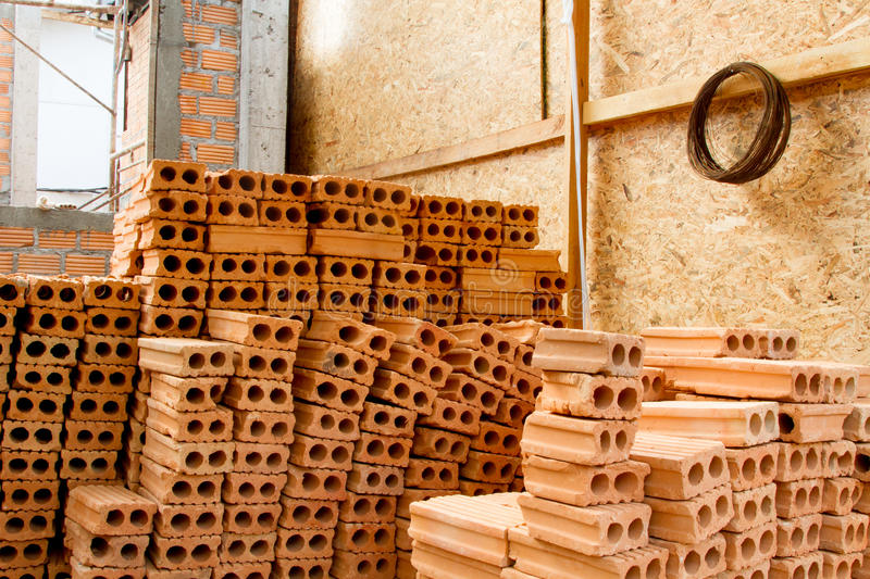 Industrial bricks at construction site stock photo