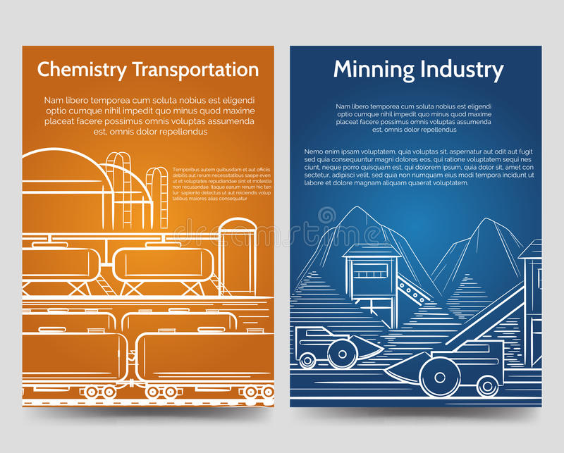 Industrial brochure flyers template royalty free illustration