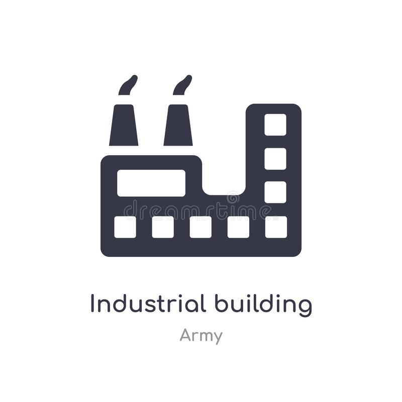 Industrial building with contaminants icon. isolated industrial building with contaminants icon vector illustration from army. Collection. editable sing symbol royalty free illustration