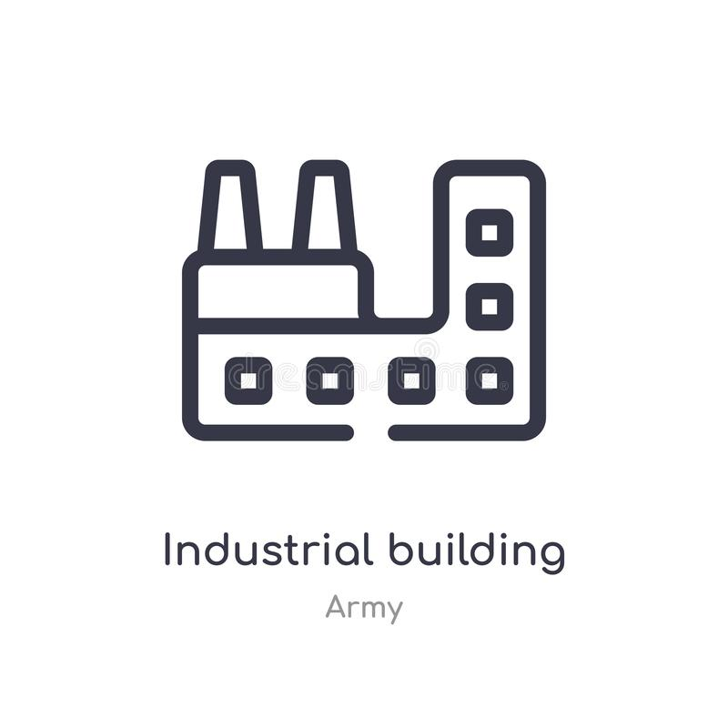 Industrial building with contaminants outline icon. isolated line vector illustration from army collection. editable thin stroke. Industrial building with vector illustration