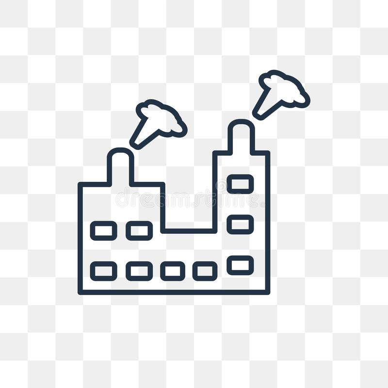 Industrial building with contaminants vector icon isolated on tr. Industrial building with contaminants vector outline icon isolated on transparent background stock illustration