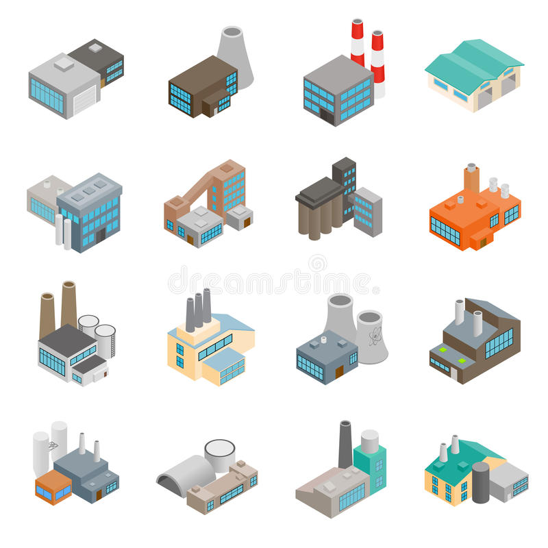 Industrial building factory icons royalty free illustration