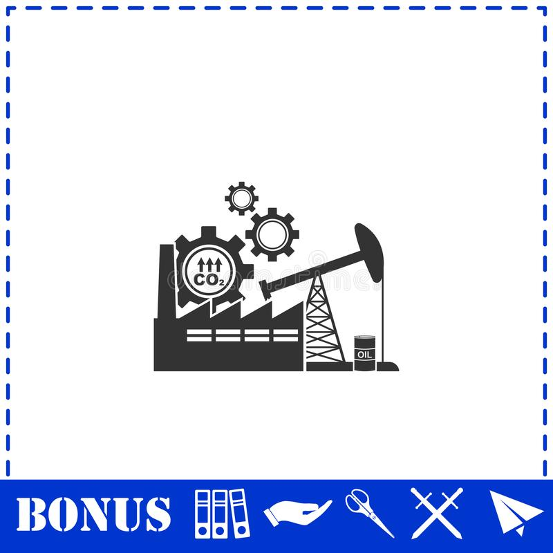 Industrial building factory and power plants icon flat. Simple vector symbol and bonus icon royalty free illustration